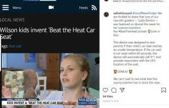 12-year-old girl invented car seat device preventing hot car deaths [won her $20,000]