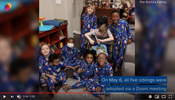 5 siblings that were apart, now reunited after being adopted