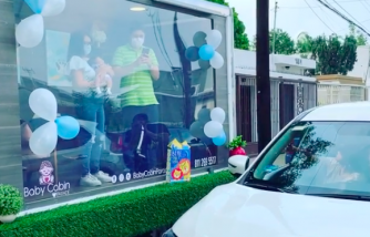 A Unique Baby Shower Idea in Mexico Uses Glass-Sided Trucks