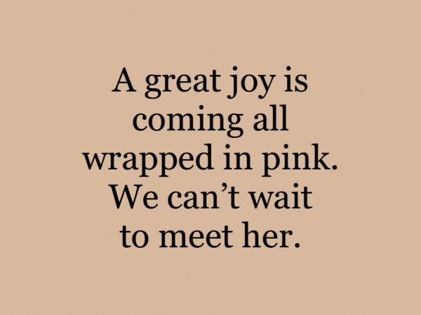 A great joy is coming all wrapped in pink. We can't wait to meet her.