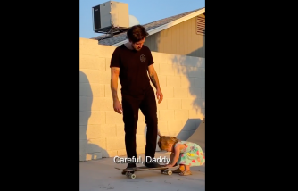 The little girl asks her dad to be careful of skateboarding