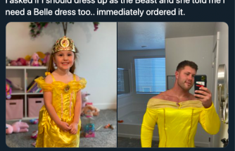 Daughter Wanted Dad to Dress up as Belle Too, Father Immediately Ordered a Dress