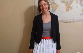 michigan student, makes skirt out of rejection letters, helped her succeed