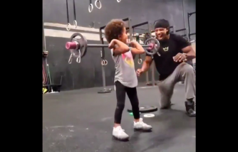 Dad and Daughter Bonds While Lifting Weights [Sweet Video]