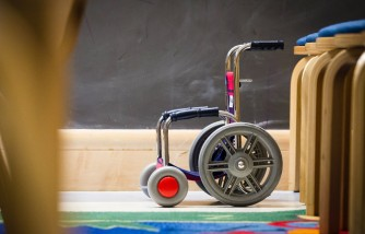 Mother and son team up to create walking wheelchair.