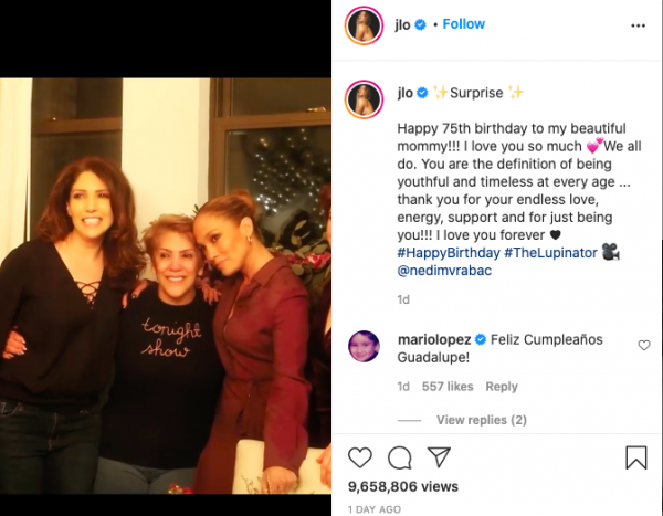 Jennifer Lopez Held a Surprise Birthday Party for Her Mom's Birthday