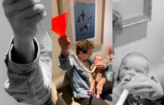 Seattle Dad Uses Beer Bong as a Feeding Technique for Baby