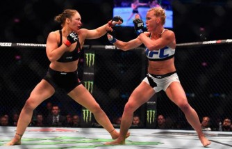 Ronda Rousey faces Holly Holm in their UFC women's bantamweight championship bout