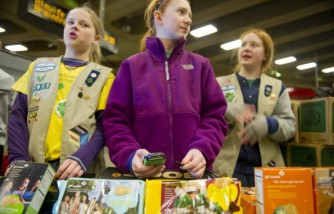 Girl Scout cookies being sold.