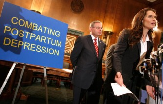 Brooke Shields talks about her battle with postpartum depression as Sen. Robert Menendez listens at a news conference at Capitol Hill in Washington DC.