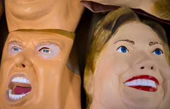 Rubber Masks Of Hilary Clinton And Donald Trump Manufactured In Japan