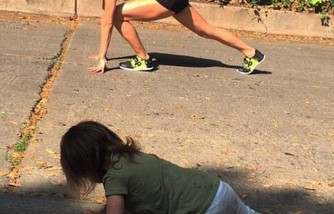 Jenna Tatum and daughter, Everly, working out outdoors.