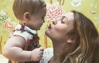 Drew Barrymore, kissing youngest child, Frankie.