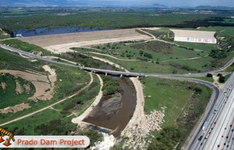 The Prado Dam on top of the Chino Valley Freeway in southern California.