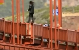 A man jumps off the bridge, committing suicide.