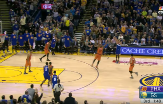 Kevin Durant's Chase Down Block Leads to a Stephen Curry Three-Pointer