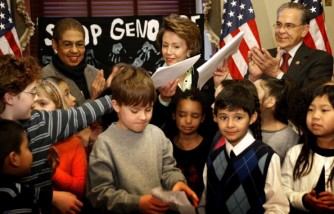 Pelosi Meets With Students Delivering Petition To End Darfur Genocide