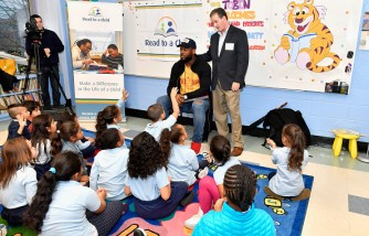 Patriots Tight End and Children's Book Author Martellus Bennett visits Read to a Child's Lunchtime Reading Program at Boston Public Schools' Tobin K-8