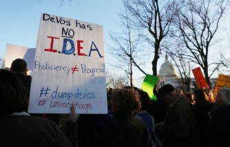 Protestors Rally Outside Capitol Hill Against Betsy DeVos Nomination