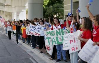 Teachers Union Rallies At Miami-Dade School Board Meeting